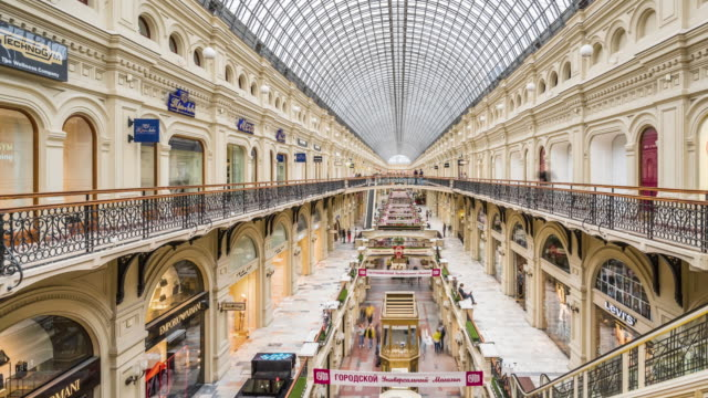 t/l ws pan gum department store / moscow, russia - department store stock videos and b-roll footage