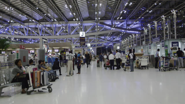 departure level of suvarnabhumi international airport - gate stock videos & royalty-free footage