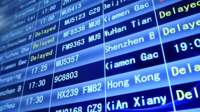 Horaires de départ de l'aéroport, en Chine