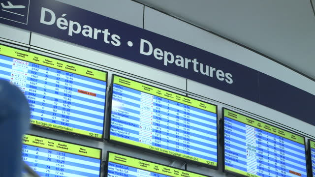 Departures screens at Montreal airport