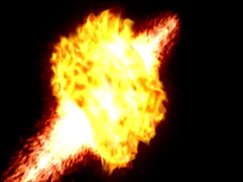 vídeos y material grabado en eventos de stock de depiction of solar explosion with swirling masses of fiery debris - supernova