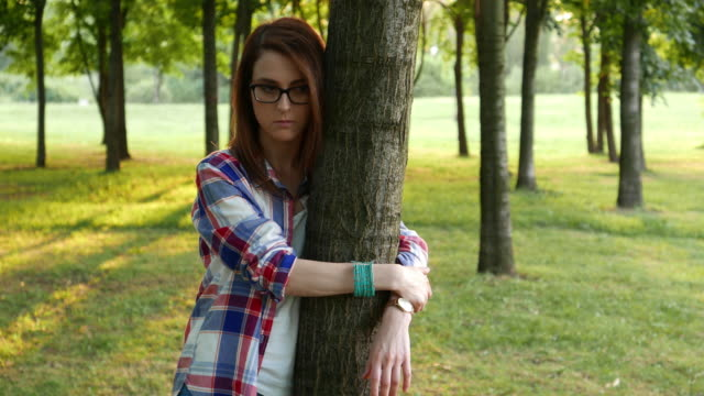 Depressed woman in the park