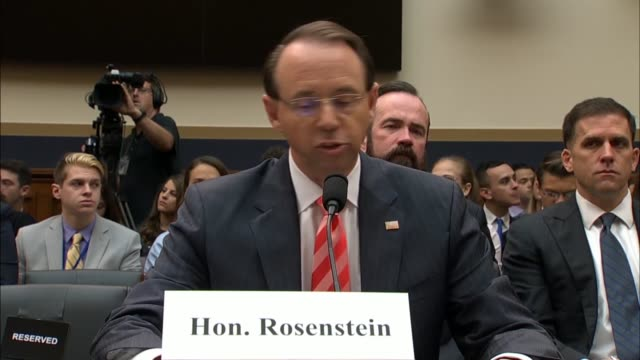 deputy attorney general rod rosenstein tells the house judiciary committee at a hearing on 2016 investigations that the doj inspector general... - attorney general stock videos & royalty-free footage