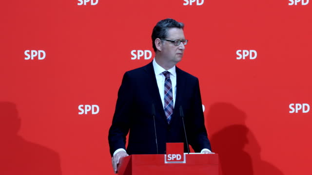 deputy leader of the social democratic party thorsten schäfergümbel attends a press conference at the german social democrats headquarters on june 03... - conformity stock videos & royalty-free footage
