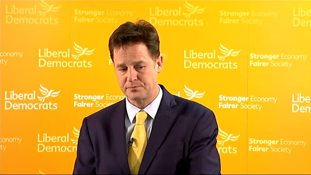 deputy prime minister nick clegg mp monthly press conference question and answer session q ed miliband has said he wants to join the fight to unseat... - politics and government stock videos & royalty-free footage