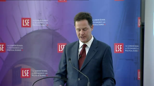 deputy prime minister nick clegg speech on uk economic growth / cutaways; - but the money did stop. and, despite over 3,000 schemes aimed at business... - simply red点の映像素材/bロール
