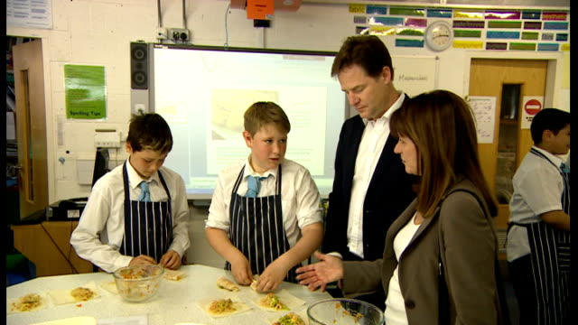 deputy prime minister nick clegg visits school in north london; england: london: highgate wood school int nick clegg mp observing school lesson and... - highgate stock videos & royalty-free footage