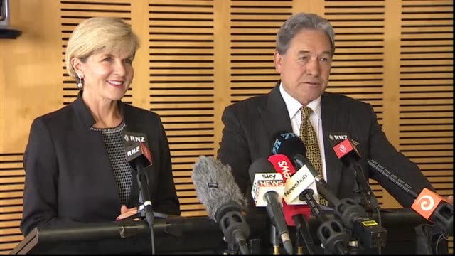 Deputy Prime Minister Winston Peters holding joint press conference with Australian Minister for Foreign Affairs Julie Bishop following diplomatic...
