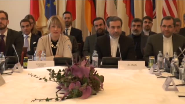 Deputy Secretary General for the External Action Service of EU Helga Schmid and Iranian deputy foreign minister Seyed Abbas Araqchi attend the first...
