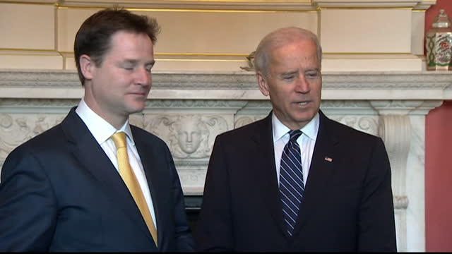 deputy uk pm nick clegg and us vice president joe biden photocall at downing street, biden talks about the close relationship between the uk and the... - 2013 stock videos & royalty-free footage