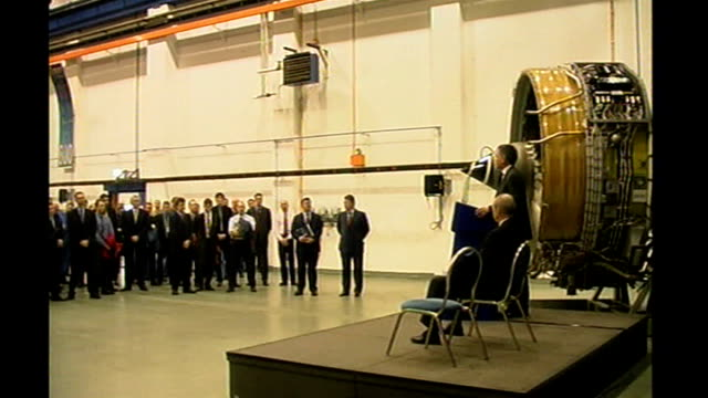 rollsroyce engineers working on jet engines side view of stephen byers mp speaking at podium in rollsroyce factory rollsroyce workers listening side... - rolls royce stock videos & royalty-free footage