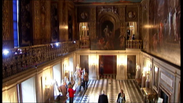 chatsworth house: ext general views chatsworth house including ornate ceiling of great hall and paintings of georgiana spencer, duchess of devonshire - derbyshire stock-videos und b-roll-filmmaterial
