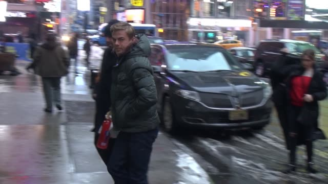 derek hough arrives at the good morning america show in celebrity sightings in new york - good morning america stock videos and b-roll footage
