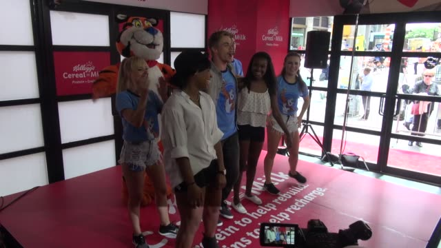 Derek Hough dances with fans at the Kellogg's Cereal and Milk event Celebrity Sightings in New York on June 26 2014 in New York City