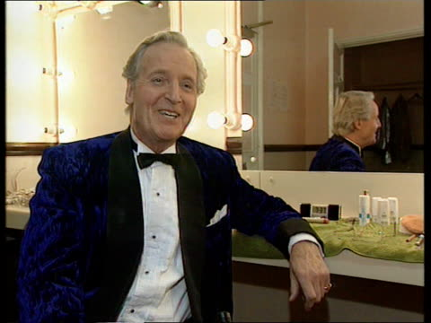 derek nimmo critically ill; itn england: london int nicholas parsons in dressing room nicholas parsons interview sot - praises nimmo - nicholas parsons stock videos & royalty-free footage