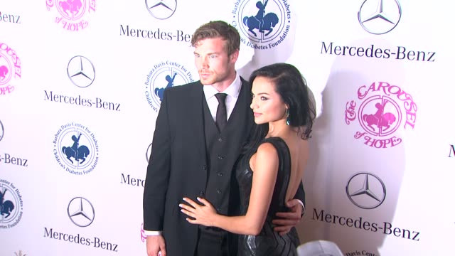derek theler and christina ochoa at the 2014 carousel of hope ball at the beverly hilton hotel on october 11, 2014 in beverly hills, california. - the beverly hilton hotel stock videos & royalty-free footage