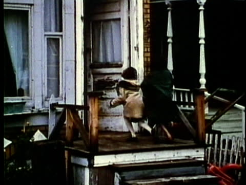 montage, derelict and abandoned homes, 1960's, detroit, michigan, usa - 1960 1969 stock-videos und b-roll-filmmaterial