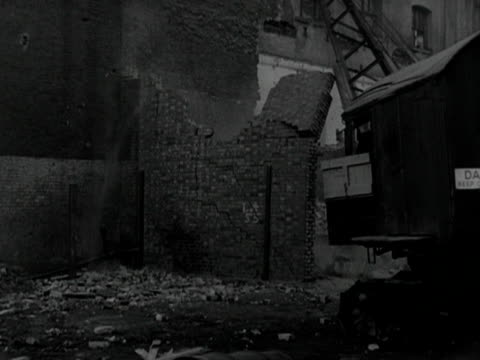 derelict buildings are demolished near the festival of britain site on the south bank of the thames - festival of britain stock videos & royalty-free footage