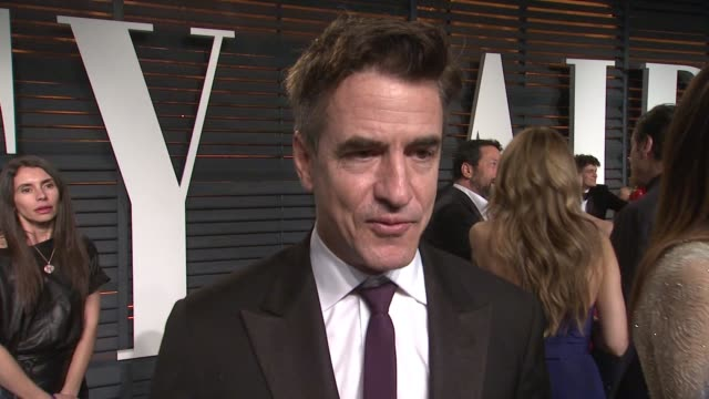 interview dermot mulroney at the 2015 vanity fair oscar party hosted by graydon carter at the wallis annenberg center for the performing arts on... - wallis annenberg center for the performing arts stock videos and b-roll footage