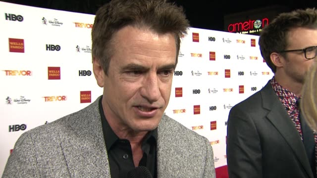 interview dermot mulroney on the trevor project on being here tonight at trevorlive los angeles 2015 at hollywood palladium on december 06 2015 in... - the trevor project stock videos and b-roll footage