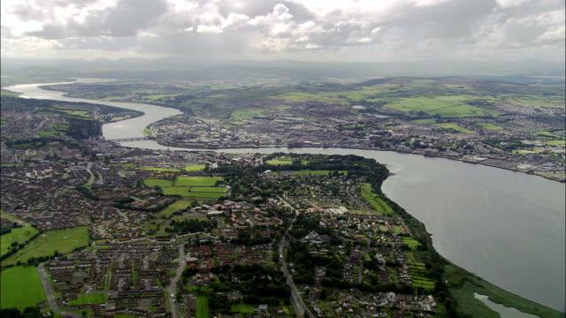 derry  - aerial view - northern ireland, united kingdom - derry northern ireland stock videos & royalty-free footage