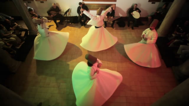ws ha dervishes during sufi whirling, istanbul, turkey - sufism stock videos & royalty-free footage