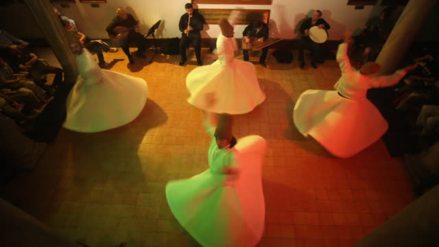 t/l ws ha dervishes during sufi whirling, istanbul, turkey - sufism stock videos & royalty-free footage
