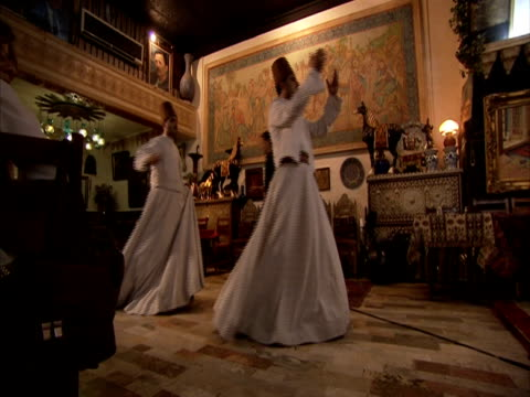 dervishes performing in restaurant, syria (sound available) - sufism stock videos & royalty-free footage