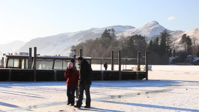derwent water completely frozen over in winter time, lake district, uk. - frozen stock videos & royalty-free footage