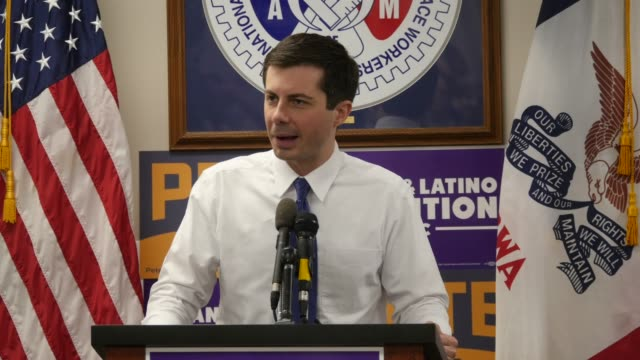 South Bend Indiana Mayor Pete Buttigieg a Democrat who is running for President of the United States speaks to supporters during Asian Latino...