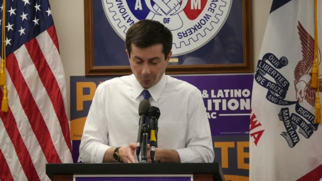south bend indiana mayor pete buttigieg a democrat who is running for president of the united states speaks to supporters during asian latino... - mayor stock videos & royalty-free footage