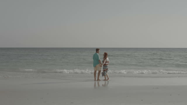 desaturated image couple walking in love walking in waterfront shore - desaturated stock videos & royalty-free footage