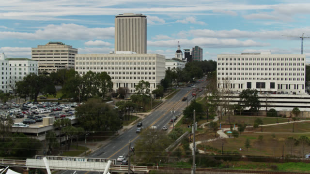 descending aerial shot of downtown tallahassee - florida us state stock videos & royalty-free footage