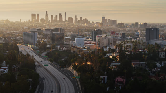 descending aerial view of 101 freeway and hollywood during covid-19 lockdown - city of los angeles stock videos & royalty-free footage