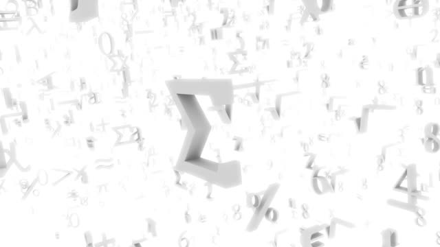 CGI descending and ascending through infinite math symbols and numbers floating in space