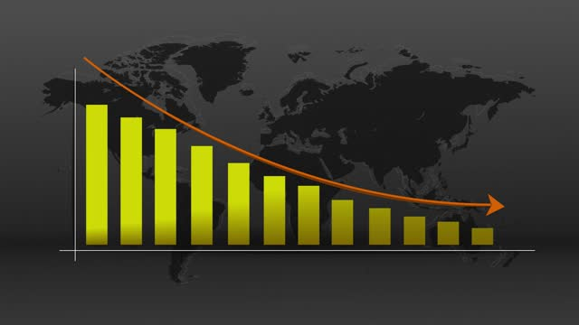 4k descending arrow and bar chart with world map background - politics abstract stock videos & royalty-free footage