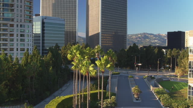 descending drone shot of century city, los angeles - tower stock videos & royalty-free footage