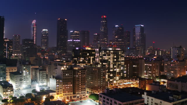 Descending Drone Shot of Los Angeles Fashion District at Night