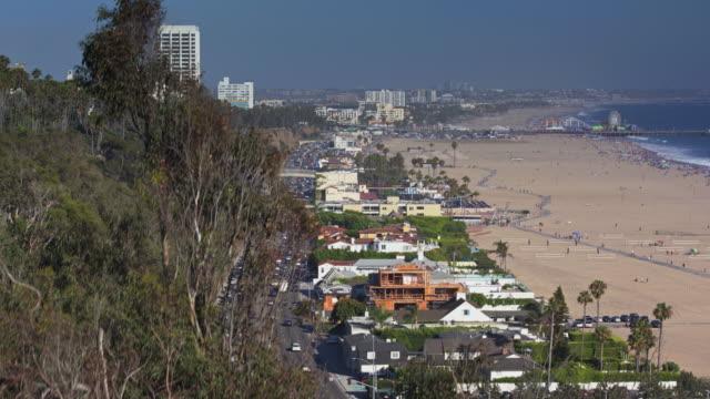 descending drone shot of santa monica, california - palisades park stock videos & royalty-free footage