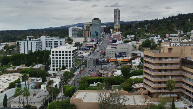 descending drone shot of the sunset strip - west hollywood stock videos & royalty-free footage