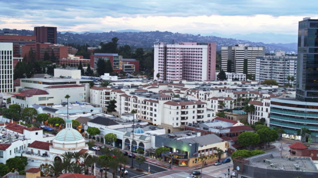 descending drone shot of westwood village, los angeles - westwood neighborhood los angeles stock videos & royalty-free footage