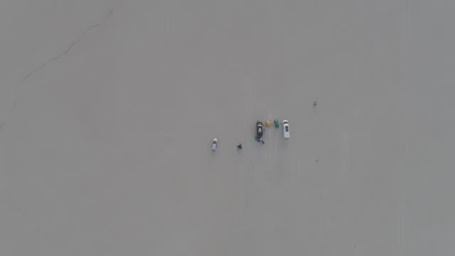 AERIAL: Descending on a Campsite in the Alvord Desert