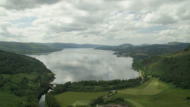 descending shot of loch fyne - riverbank stock videos & royalty-free footage