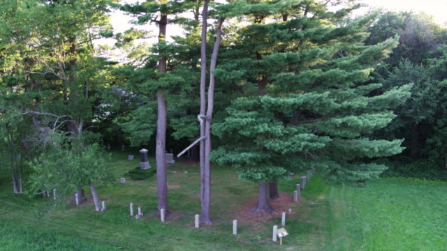 descending shot of the graveyard by the rebecca nurse homestead - gravestone stock videos & royalty-free footage