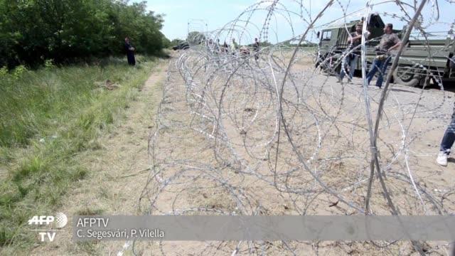 desde el lunes hungria esta reforzando parte de su frontera con serbia con una polemica valla de cuatro metros de alto para frenar la entrada de... - entrada stock videos and b-roll footage