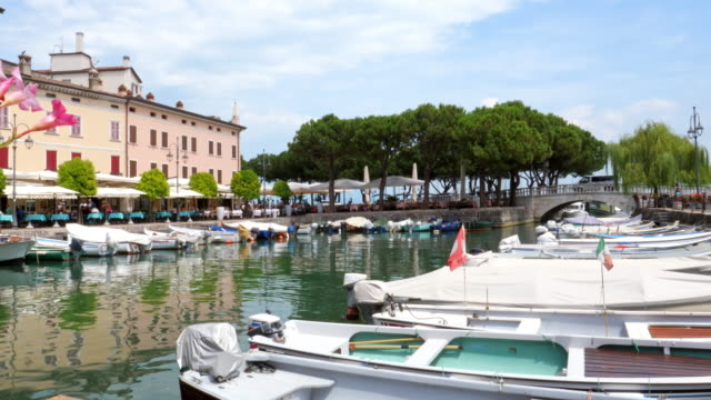 desenzano del garda harbour - holiday resort on the garda lake - lake stock videos & royalty-free footage