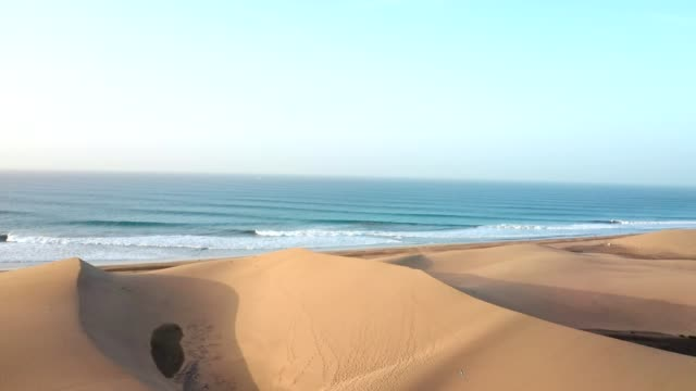 desert coastline of gran canaria. aerial view - sand dune stock videos & royalty-free footage