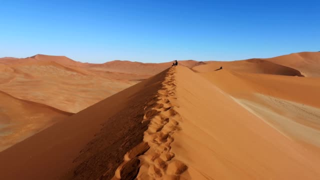 desert dunes with footprints and panning in namibia 4k video - namibia stock videos & royalty-free footage