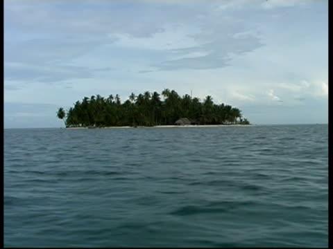 desert island, tall palm trees, wa pov from boat, panama, central america - desert island stock videos & royalty-free footage
