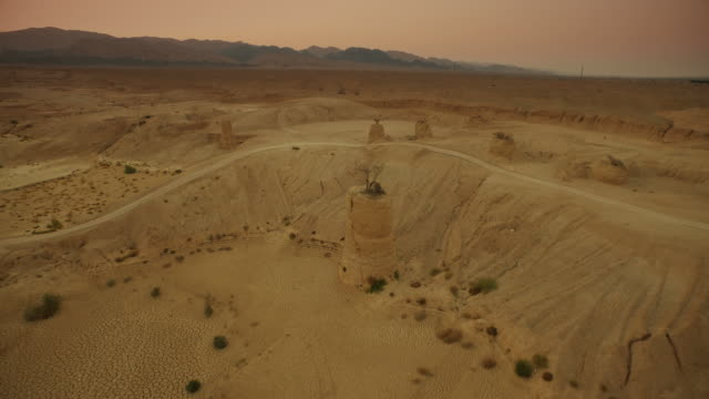 desert landscape. aerial shooting - middle east stock videos & royalty-free footage